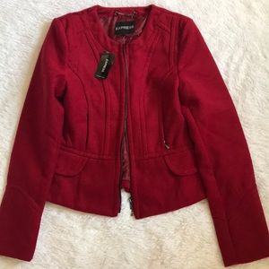Red Structured Blazer Jacket from Express